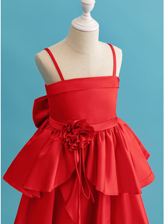 Ball-Gown/Princess Ankle-length Flower Girl Dress - Satin Sleeveless Square Neckline With Ruffles/Flower(s)/Bow(s)