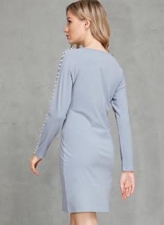Sobre la rodilla Cuello redondo Lino Sólido Mangas Largas Vestidos de moda