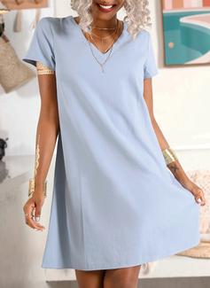 Vestidos sueltos Cuello en V Algodón Vestidos de moda