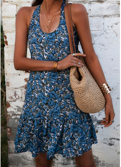 Floral Print Sheath Sleeveless Mini Casual Sexy Vacation Tank Dresses