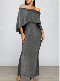 Sequins Solid Bodycon 1/2 Sleeves Split Sleeve Maxi Party Elegant Pencil Dresses