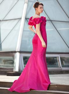 Trumpet/Mermaid Off-the-Shoulder Sweep Train Taffeta Prom Dresses With Ruffle