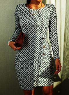Print Bodycon Lange ærmer Midi Casual Blyant Mode kjoler