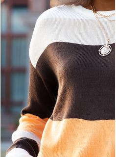 Rund-ringning Fritids Color Block Tröjor