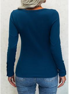 Solido Girocollo Maniche lunghe Bottone Casuale Camicie