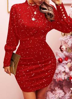 Print Bodycon Lantern ærmer Lange ærmer Mini Elegant Mode kjoler