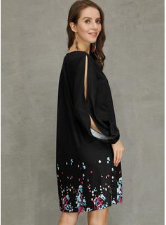 印刷 シフトドレス 長袖 スプリットスリーブ ミニ カジュアル チュニック ファッションドレス