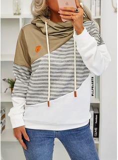 カラーブロック 縞模様の 長袖 パーカー