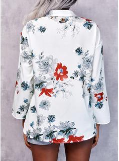 Floral Impresión Solapa Mangas 3/4 Casual Elegante