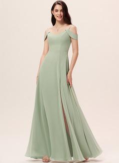 Cuello en V Celadón Gasa Vestidos de moda