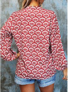 Print V-hals 1/2 ærmer Button-up Casual Shirt Skjorter