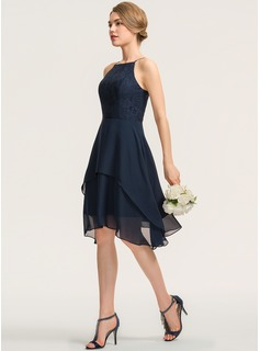 A-Line Square Neckline Knee-Length Chiffon Lace Bridesmaid Dress With Cascading Ruffles