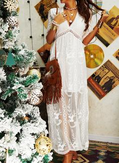 Renda Sólido Vestido linha-A Manga Curta Maxi Elegante Skatista Vestidos na Moda