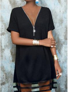 Solid Shift Short Sleeves Midi Little Black Casual Tunic Dresses