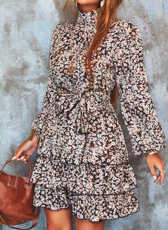 Imprimé Robe trapèze Manches Longues Mini Décontractée Patineur Robes tendance