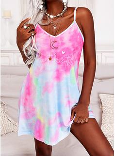 Tie Dye Impresión Corazón Carta Vestido línea A Sin mangas Mini Casual Vacaciones Patinador Tipo Vestidos de moda