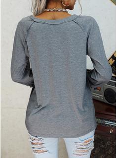 Figura Pizzo Stampa Scollatura a V Maniche lunghe Casuale Camicie