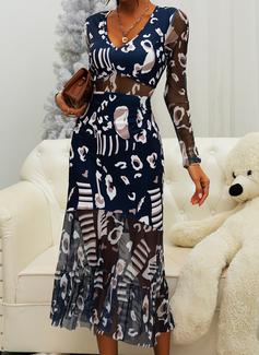 Print A-line Long Sleeves Midi Elegant Skater Dresses