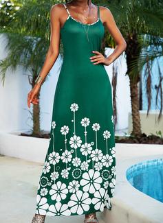Floral Imprimeu Bir Çizgi Kolsuz Maxi gündelik Tatil Tip Moda Elbiseler