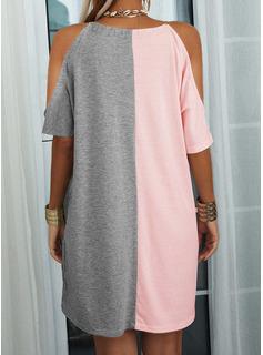 Trozos de color Impresión Vestidos sueltos Mangas 1/2 Mini Casual Vestidos de moda