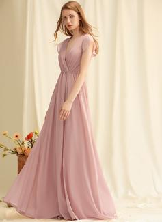 A-linjeklänning V-ringning Ärmlös Maxi Romantiskt Sexig Modeklänningar