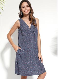 Knielänge V-Ausschnitt Polyester Drucken Ärmellos Modekleider