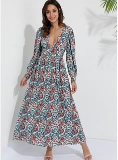 Maxi Litera V Poliester Wydrukować Długie rękawy Modne Suknie