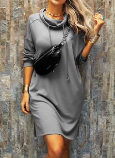 Solid Shiftklänningar Långa ärmar Mini Fritids Tröjor Modeklänningar
