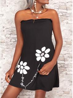 Floral Impresión Carta Vestidos sueltos Sin mangas Mini Casual Vacaciones Vestidos de moda