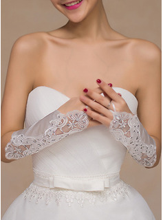 Lace/Satin Elbow Length Bridal Gloves With Embroidery