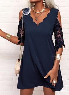 Lace Solid Shift 1/2 Sleeves Mini Little Black Elegant Tunic Dresses