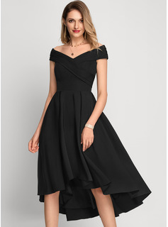 A-Line Off-the-Shoulder Asymmetrical Stretch Crepe Cocktail Dress