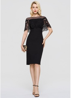 Sheath/Column Scoop Neck Knee-Length Stretch Crepe Cocktail Dress