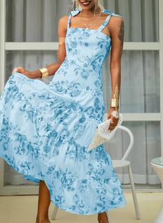 Kwiatowy Nadruk Sukienka Trapezowa Bez Rękawów Maxi Nieformalny Wakacyjna Łyżwiaż Modne Suknie