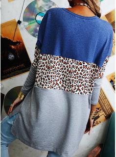 Leopard Color Block V-hals Lange ærmer Casual Skjorter