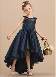 Ball-Gown/Princess Asymmetrical Flower Girl Dress - Satin Sleeveless Scoop Neck With Bow(s)