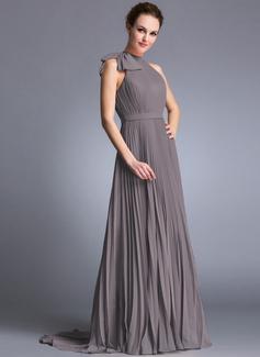 Corte A/Princesa Escote redondo Barrer/Cepillo tren Gasa Vestido de noche con Lazo(s) Plisado