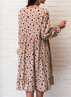 Impresión Vestidos sueltos Manga Larga Mini Casual Túnica Vestidos de moda