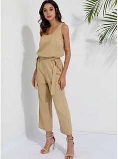 V-hals Polyester Solid Uden Ærmer Solid Mode kjoler