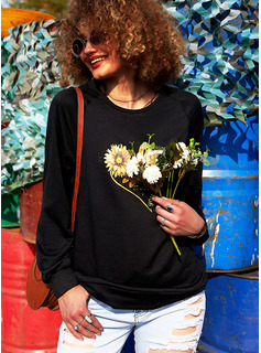 Animal Print Sunflower Print Figure Round Neck Long Sleeves Sweatshirt