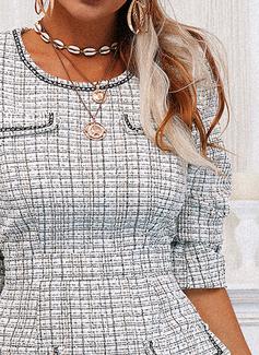 Print Skede Lange ærmer Mini Casual Mode kjoler