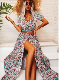 Print V-hals Korte ærmer Maxi Mode kjoler