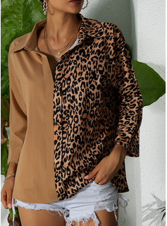 Leopard Long Sleeves Polyester Lapel Shirt Blouses Blouses