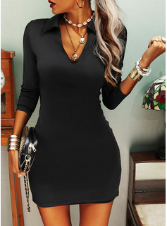 Solid Sheath Long Sleeves Mini Little Black Casual Dresses