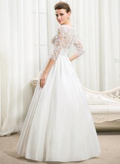 Robe Marquise Col V Longueur ras du sol Taffeta Robe de mariée avec Plissé Brodé Paillettes