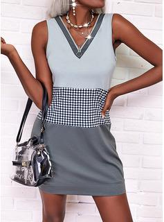 Trozos de color Tela escocesa Vestidos sueltos Sin mangas Mini Casual Vestidos de moda