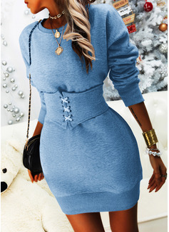 Solid Bodycon Long Sleeves Mini Casual Sweatshirt Dresses