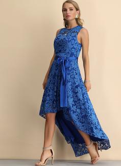 レース Aラインワンピース ノースリーブ 非対称 パーティー ビンテージ エレガント ファッションドレス