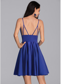 A-Line V-neck Short/Mini Satin Cocktail Dress With Pockets