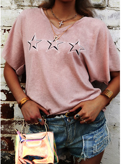 印刷 Vネック 半袖 カジュアル Tシャツ